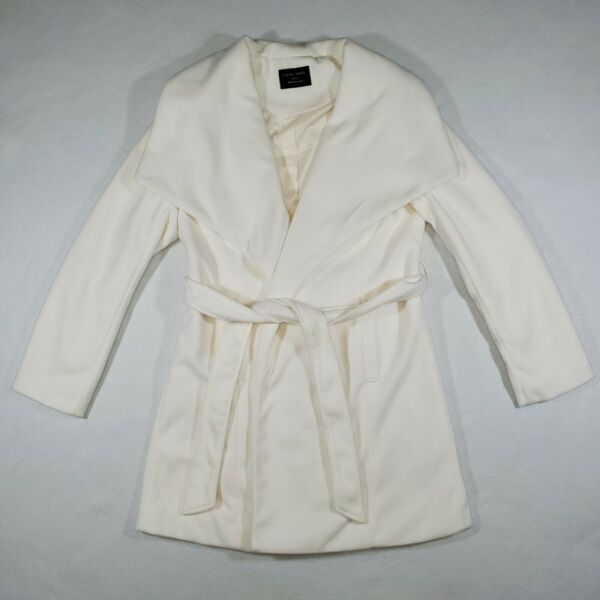 Love Tree Women#x27;s Size Large Long Coat Open Front Lined White Cream Shawl Collar