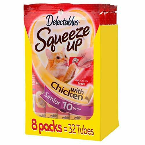 HARTZ SQUEEZE UP Delectables CHICKEN 8 packs Total 32 Lickable Cat Treats $23.48