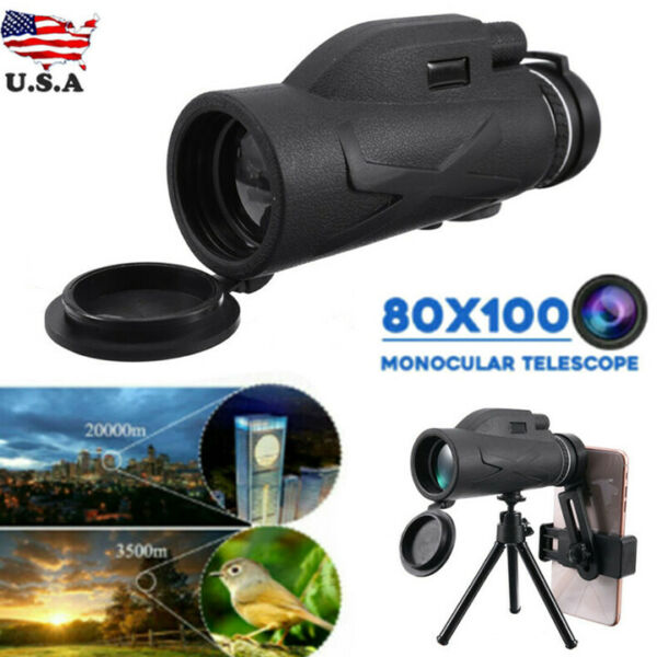 80X100 Zooms Monocular Telescope Prism High Definition With Phone Clip Tripod