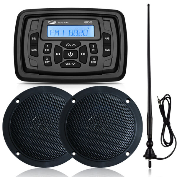 Marine Radio Stereo Bluetooth Audio Receiver amp; 4 inch Speakers amp; FM AM Antenna $126.69