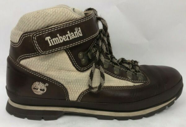 Timberland Hiking Boot Leather 11 M Brown Cream Men Lace Up Water Proof 56056 $32.15