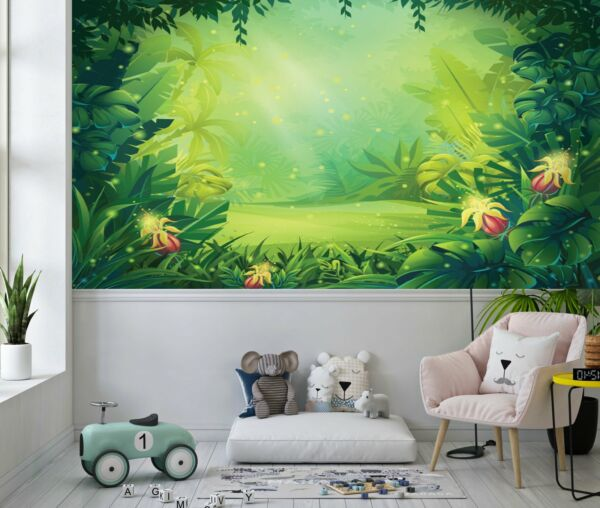 Cartoon Jungle with Ferns and Flowers Wallpaper Large Wall Mural $287.20
