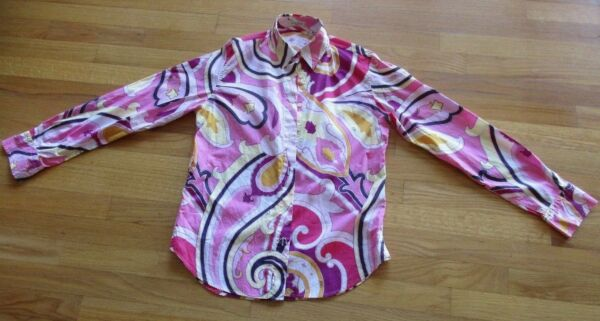 Etro women#x27;s Button Down Collar Blouse Shirt Pink 100%Cotton It 44 $45.00