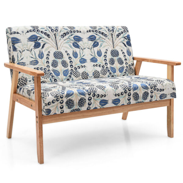Modern Fabric Loveseat Sofa Couch Upholstered 2 Seat Wood Armchair Blue Floral