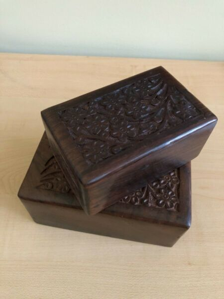 Decorative Hand carved Wood Boxes Small Medium Large pick your size