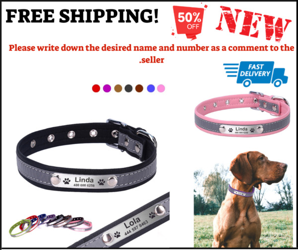 Personalized Dog Leather Collar Reflective Cat ID Customised Adjustable Tag D671 $17.99