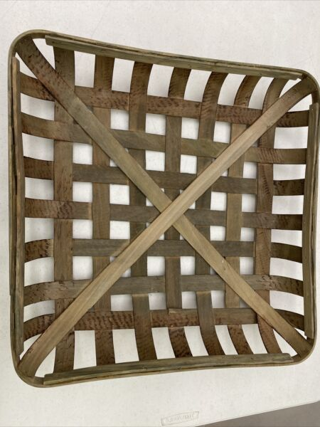 IMPERFECT Natural TOBACCO BASKET #2 Large Basket Only Farmhouse Chic Decor $24.99