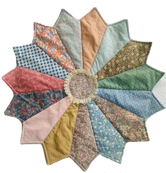 "Country Quilted 22"" Round Table Topper Centerpiece Farmhouse Boho Floral $24.99"