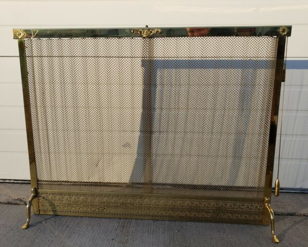 Vintage Pierced Iron Mesh Fireplace Screen curtain 37 inches wide
