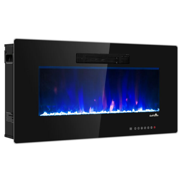 Costway 36quot; Recessed Electric Fireplace In wall Wall Mounted Electric Heater