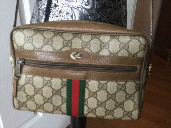 AUTHENTIC GUCCI GG PATTERN SHERRY SHOULDER BAG PVC LEATHER BROWN