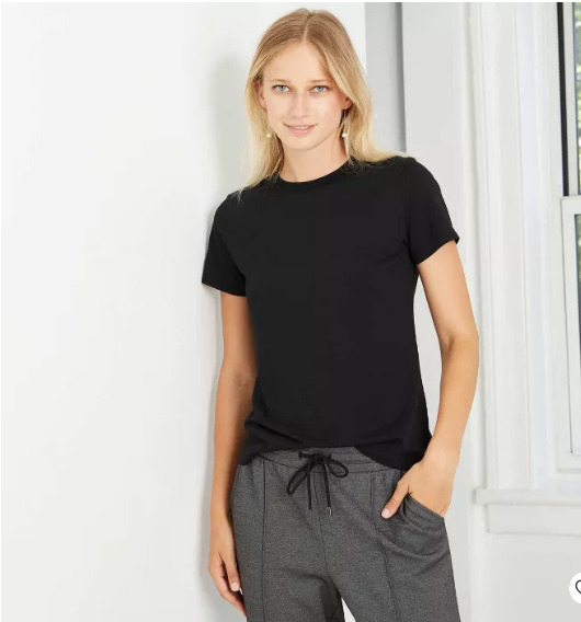 Women#x27;s Short Sleeve Casual T Shirt Slim Fit A New Day™ Black