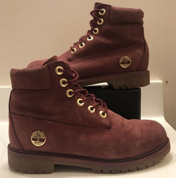 Womens Size 7 Timberland Boots Burgundy Red Suede $29.99