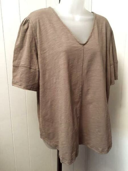 WEEKEND by Suzanne Betro Womens Plus Size 4X Cotton Knit Top Tunic Brown V Neck $18.99