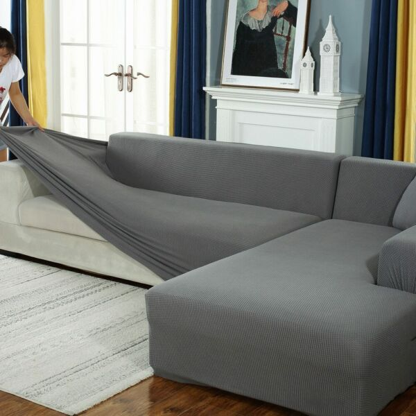 Plush L Shaped Sofa Cover for Living Room Elastic Furniture Slipcover Chaise $47.99