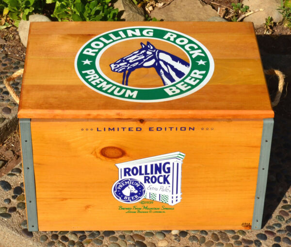 ROLLING ROCK BEER WOOD BOX CRATE W COOLER CHECKER BOARD amp; CHECKERS 2842 4000 $275.00