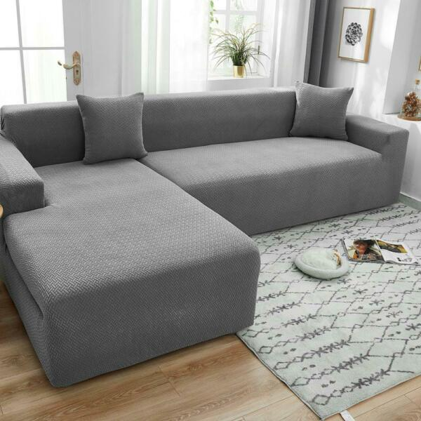Velvet Plush L Shaped Sofa Cover For Living Room Elastic Couch Slipcover Chaise $55.99