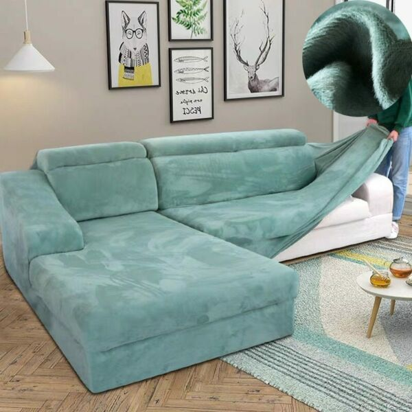 Velvet Plush L Shaped Sofa Cover For Living Room Couch Slipcover Chaise $39.99