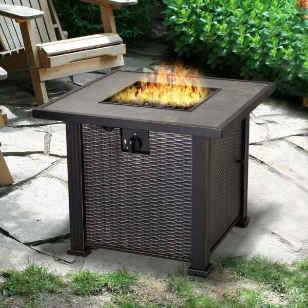 Fire Pit Table Propane Gas Patio Deck 50000 BTU Outdoor Wicker Design Black New