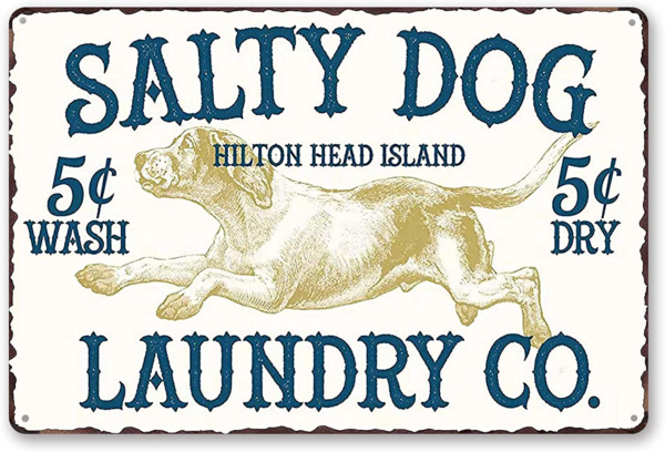 Goutoports Laundry Room Vintage Metal Sign Laundry Salty Dog White Decorative Si
