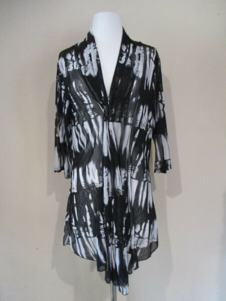 MIRROR IMAGE black white stretch sheer mesh pattern long top PLUS sz 1X * NEW