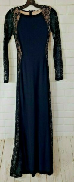 Women#x27;s Long Black Polyester amp; Lace Dress Mystic Gown By Mystic Black Size XS