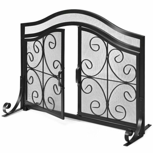 Fireplace Screen with Hinged Magnetic Two doors Flat Guard Freestanding Black