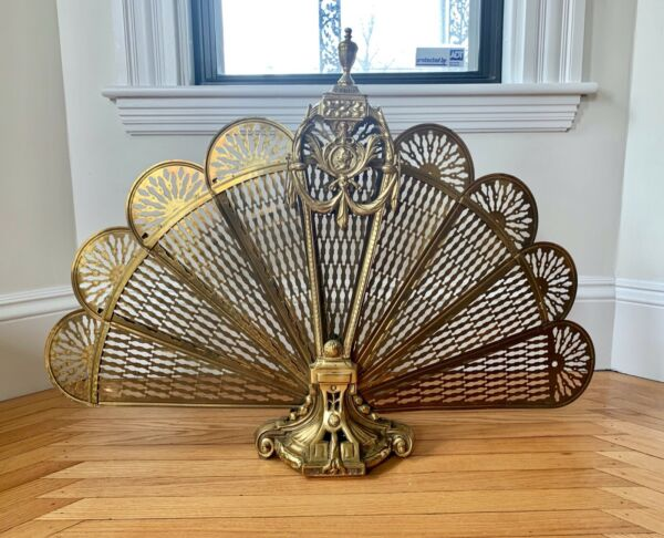 Vintage Brass Fireplace Screen Peacock Folding Fan Fireplace Screen