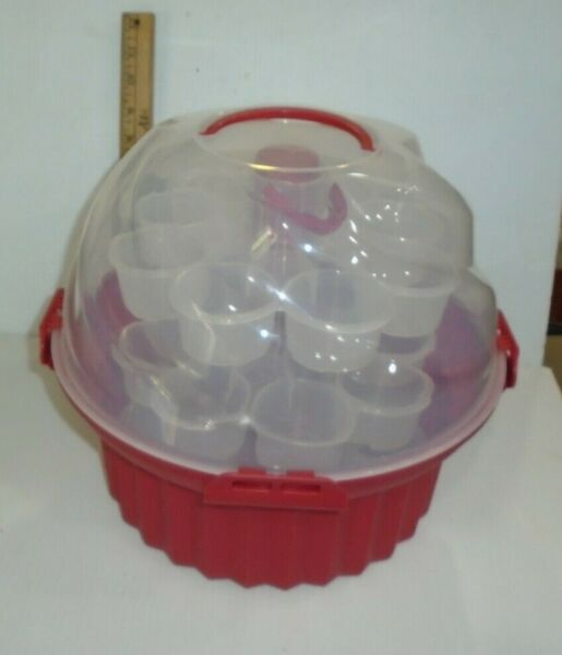 Red Cupcake Shaped Cupcake Carrier 3 Stackable Tiers Holds 24