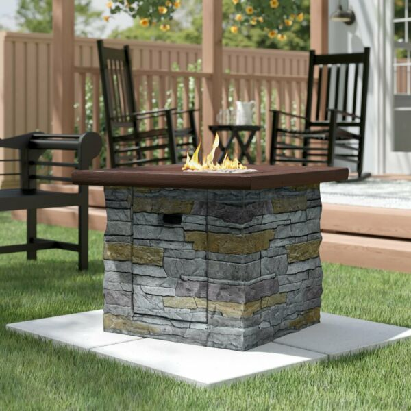 Outdoor Fire Pit Table Propane Stone Patio Heater Fireplace Backyard Furniture