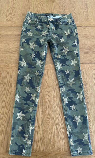 TOXIK 3 Womens Camouflage Green Khaki Trousers Jeans Size M 10 With Stretch