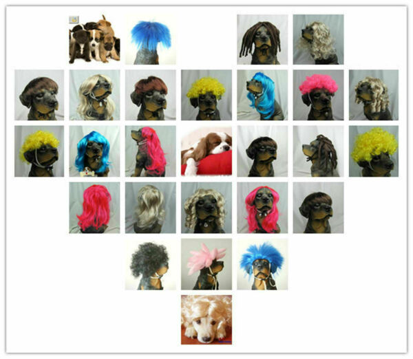 Adjustable Dog Costumes Colorfull Synthetic Hair Pet Wig Lovely Pet Dog Wigs $9.99