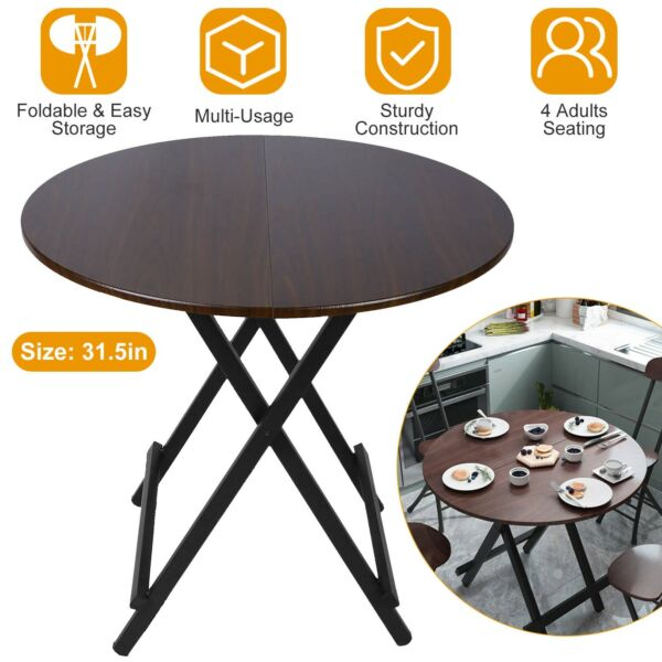 Foldable Round High Top Folding Table Wooden Dining Desk For Dinner Snack Coffee