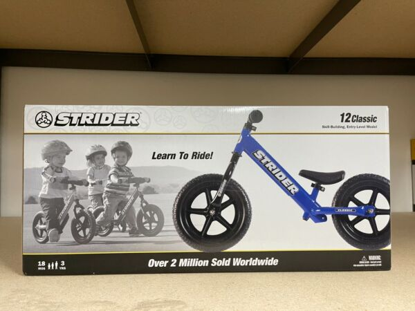 STRIDER CLASSIC 12quot; BALANCE BIKE FOR KIDS NO PEDAL LEARNING BIKE BLUE NEW $87.99