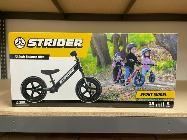 STRIDER SPORT 12quot; BALANCE BIKE FOR KIDS NO PEDAL LEARNING BIKE BLACK NEW $106.99