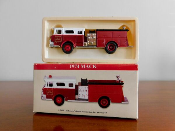 1974 Mack Red And White Die Cast Fire Truck 1:64 Scale 2000 Readers Digest NIB