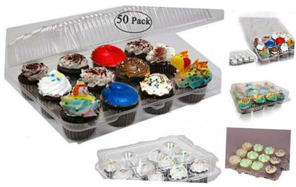 Case of 50 plastic cupcake boxes 12 Cupcake Containers Clear plastic