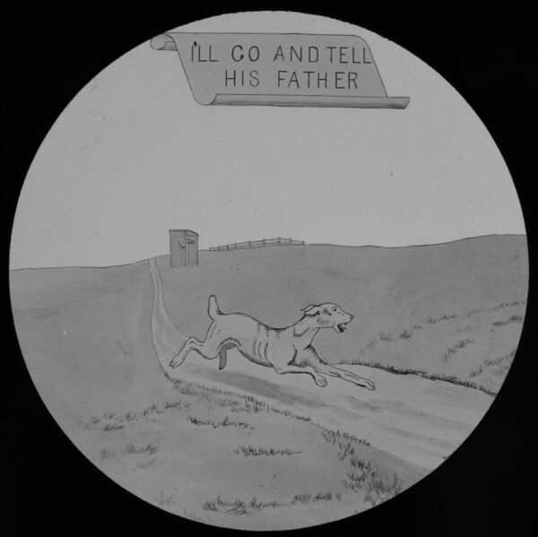 ANTIQUE Magic Lantern Slide DOG AND WELL NO5 C1890 VICTORIAN COMIC TALE GBP 15.00