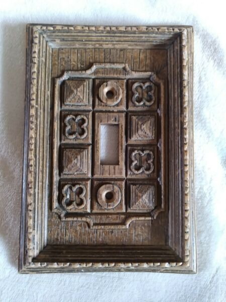 Vintage Faux Wood Switch Plate Cover Carved Wood Look Plastic Traditional $14.95