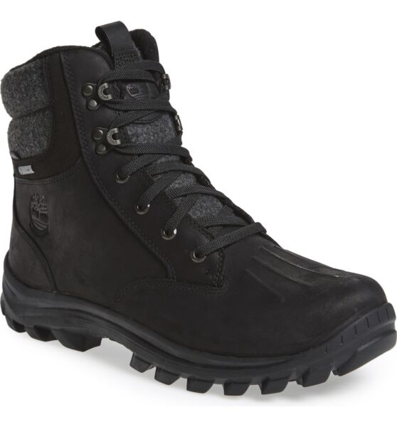 Timberland Men Insulated Hiking Boots Chillberg Black Full Grain Leather $62.90