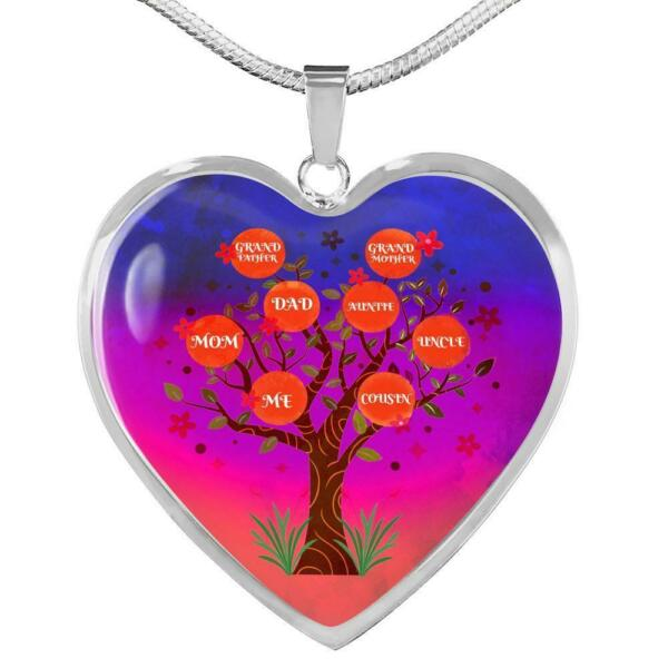 Family Tree Necklace Stainless Steel or 18k Gold Heart Pendant 18 22quot;