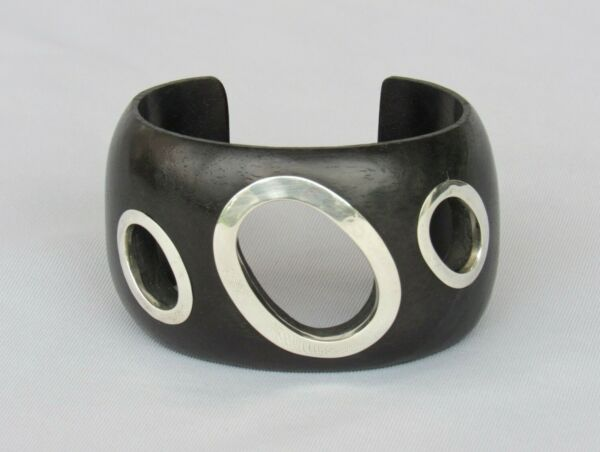 Modernist Black Wood amp; Sterling Marked 925 Wide Cuff Bracelet Mint Stunning