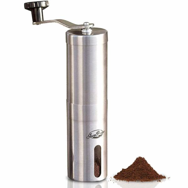 JavaPresse Manual Coffee Grinder Conical Burr Mill Brushed Stainless Steel