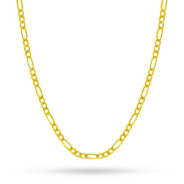 14K Yellow Gold 3MM Figaro Link Chain Necklace Made In Italy