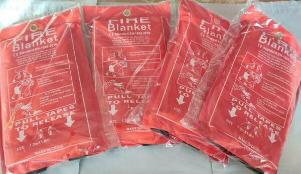 Emergency fire blanket 39.3 in x 39.3 in .43mm thickness  4 pack free shipping