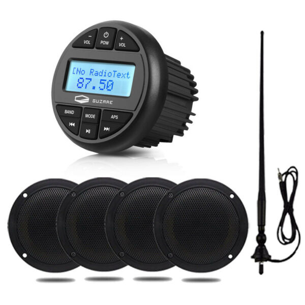 Marine Bluetooth Audio Receiver 4 inch Speakers 2 Pair FM AM Antenna $173.54