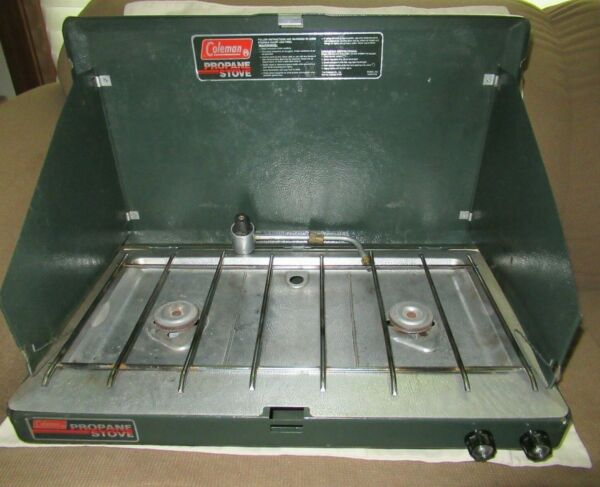 VINTAGE 1989 COLEMAN 2 BURNER PROPANE CAMPING CAMP STOVE 5430A700 VERY NICE $24.99
