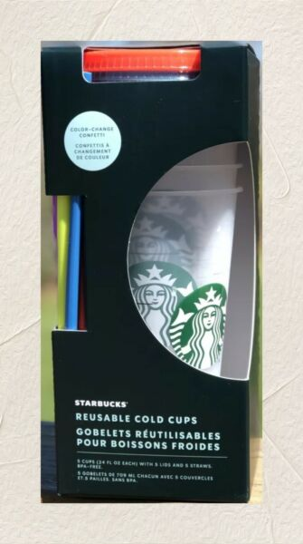Starbucks Summer 2021 Color Changing Cold Cup 5 a Set With Straw