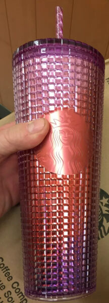 Starbucks 2021 Summer Pink Purple Grid tumbler Cold cup 24oz