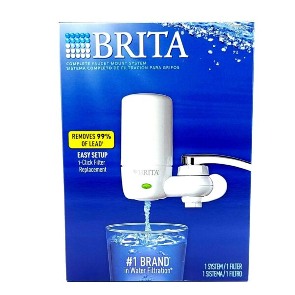 Brita On Tap Faucet Mount Water Filtration System Filters BPA Free White
